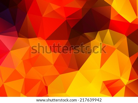 Bright red and yellow abstract background polygon - stock vector