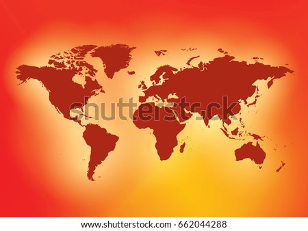Bright Red Background With Dark Red Map Of The World   Vector EPS.