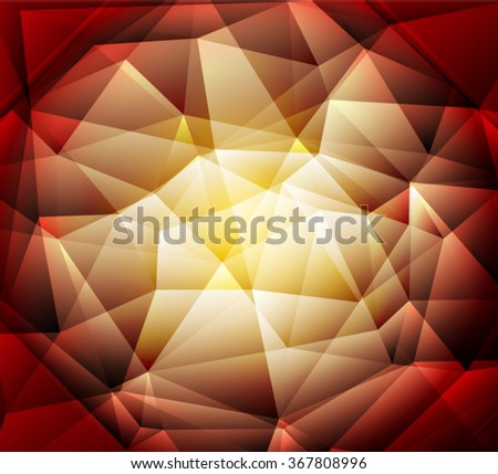 Bright red, brown yellow  polygon abstract background.Vector EPS 10 illustration. - stock vector