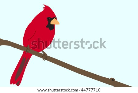 Bright Red Cardinal sitting on a tree branch illustration set against a blue sky background. - stock vector
