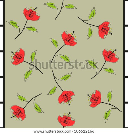 bright red flowers on gray seamless background - stock vector