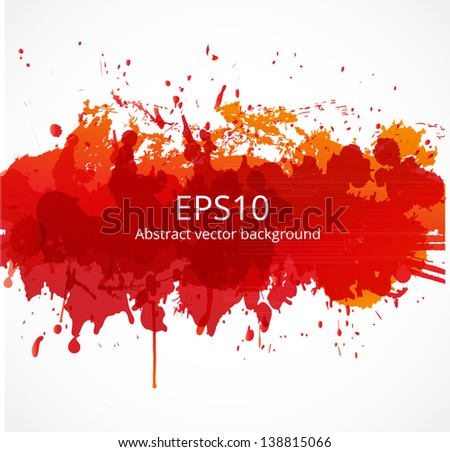 Bright red splash on a white background