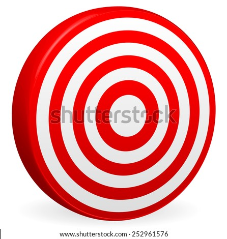 Bright Red Target Vector Render. Bullseye Icon. Element for Accuracy, Aims, Accuracy, Targeting Concepts. - stock vector
