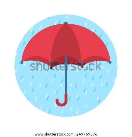 Bright red umbrella on blue round background with rain drops. Safety and protection concept. Vector illustration. - stock vector