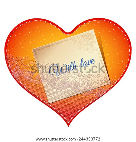 Bright red vintage lace card in the shape of satin heart with love note - stock vector