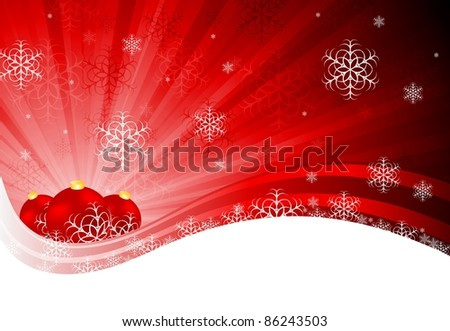 Bright red X-mas design with tree balls and snowflakes. Eps 10 - stock vector