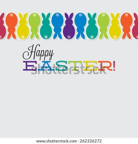 Bright retro Happy Easter card in vector format. - stock vector