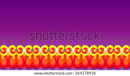 Bright, rich Royal pattern with Golden-red curls on a purple background. - stock vector