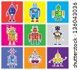 bright robots - stock vector