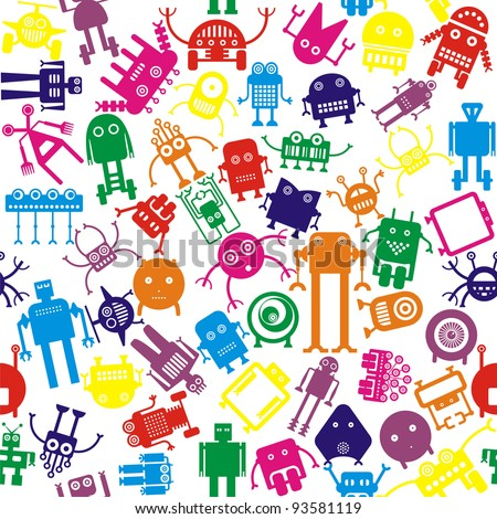 bright robots in different colors, seamless - stock vector