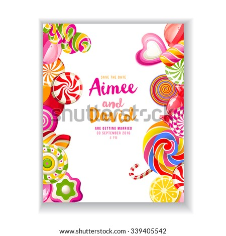 bright save the date background with candies - stock vector