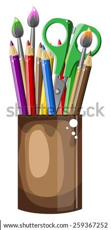 Bright School Clipart Pencils And Scissors In A Jar Vector