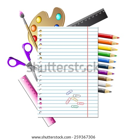 bright school clipart with sheet and stationery vector