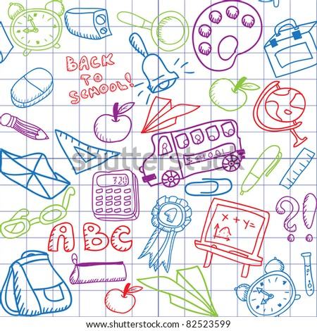 bright school seamless pattern with colorful elements - stock vector