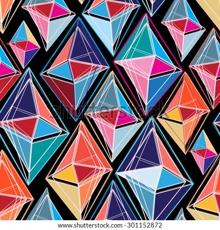 bright seamless abstract pattern of polygons on a black background - stock vector