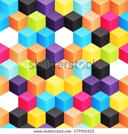 Bright seamless background with different colored 3d cubes - stock vector