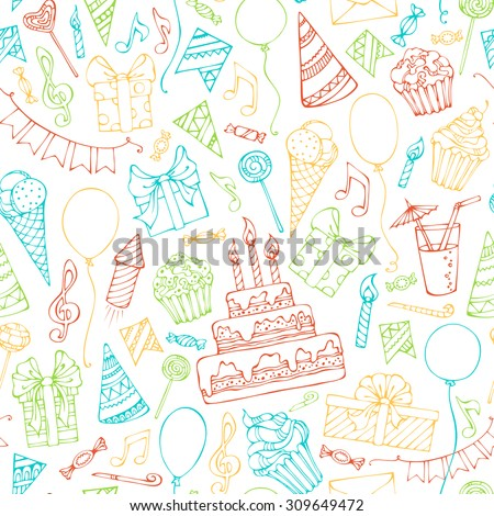 Bright seamless birthday pattern. Colourful doodles birthday objects. Can be used for web page backgrounds, wallpapers, wrapping papers or invitations. - stock vector