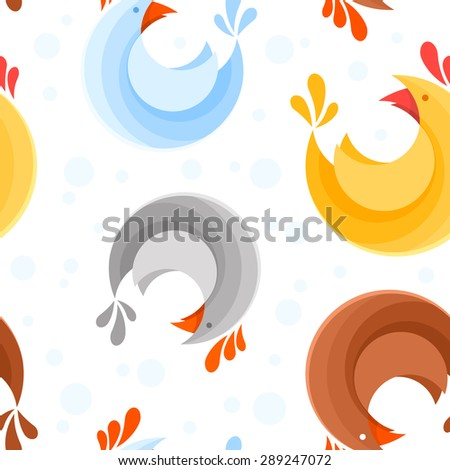 Bright seamless pattern design with colorful stylized cute chicken icons for use on children fabric, clothes, wallpapers and textures - stock vector