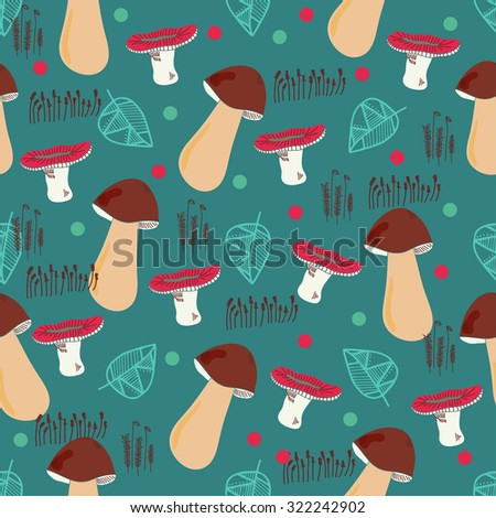 stock vector bright seamless pattern wit mushrooms leaves and moss vector illustration for textile design 322242902 - Каталог — Фотообои «Еда, фрукты, для кухни»