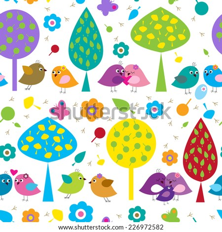 Bright seamless pattern with a lovers birds - stock vector