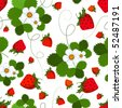 Bright seamless pattern with a strawberry, leaves and flowers (vector) - stock vector