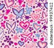 bright seamless pattern with butterflies and hearts - stock vector