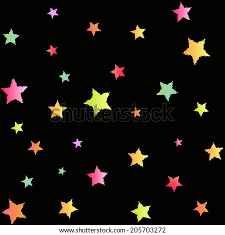 Bright seamless pattern with colorful deformed stars on a black background - stock vector