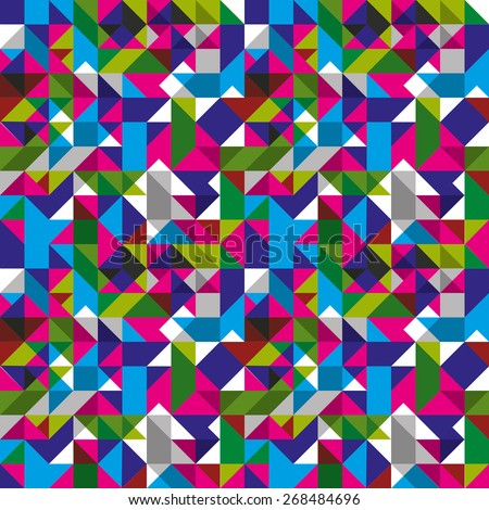 Bright seamless pattern with geometric figures, colorful mosaic textile, multicolored abstract vector book cover with squares and rectangles. - stock vector