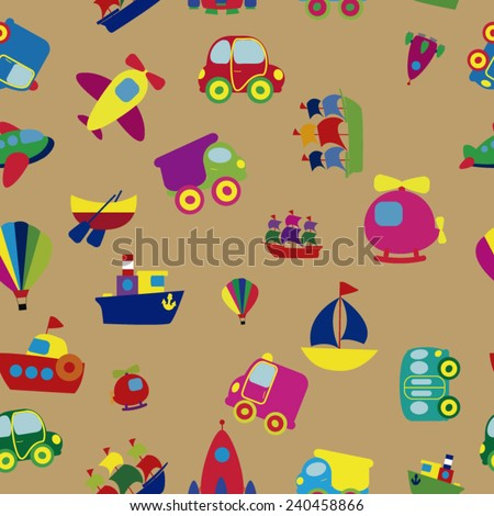 Bright seamless texture cartoon transport