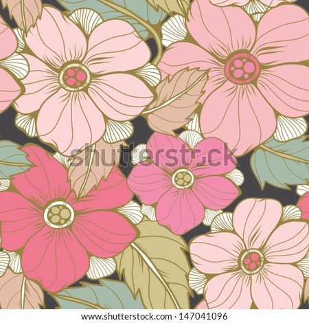 Bright Seamless texture with flowers and leaves. Seamless pattern can be used for wallpaper, pattern fills, web page background,surface textures. Gorgeous seamless floral background. - stock vector