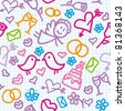 bright seamless wedding pattern with realistic page - stock vector