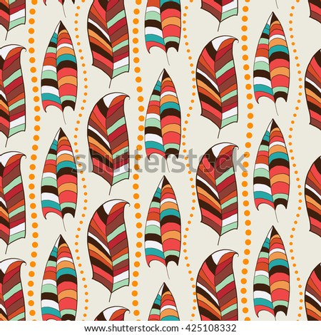 Bright seamless with feathers. Seamless pattern with colorful feathers. For website design, print on paper, fabrics, wallpaper. Stock vector - stock vector
