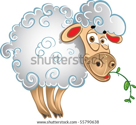 Bright sheep with blade of grass - stock vector