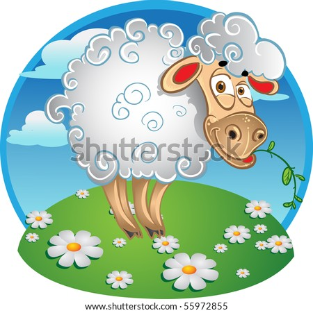 Bright sheep with blade of grass on color background - stock vector