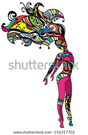 bright show girl of the various elements in an abstract style - stock vector