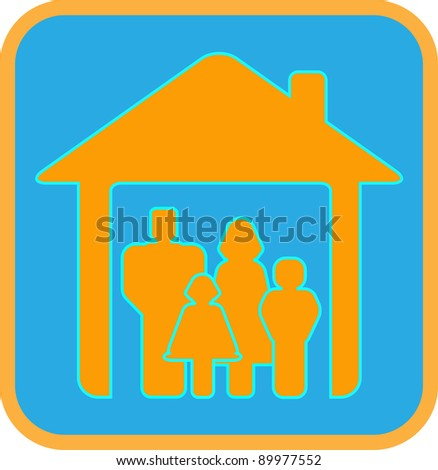 bright sign big worm family with house and family silhouette - stock vector