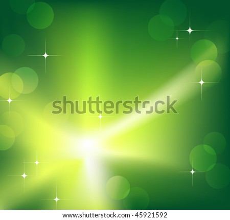 Bright sparkling flash on green background. Vector illustration. (Rgb-model, no transparency) - stock vector