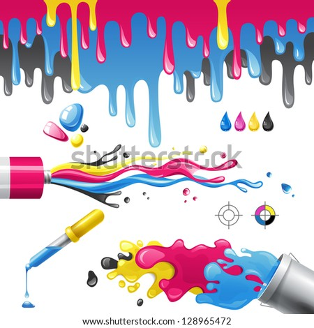 Bright splashes in CMYK colors. EPS 10 - stock vector