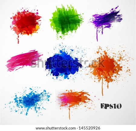 Bright splashes on a white background. Vector illustration. - stock vector