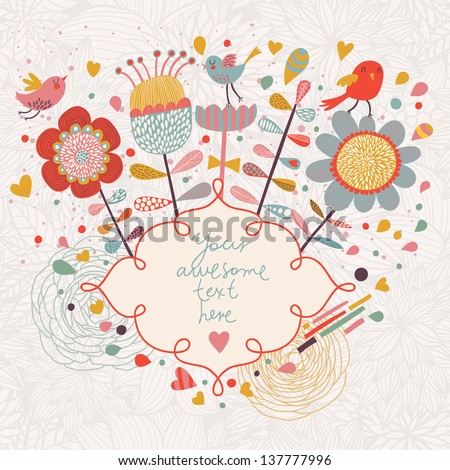 Bright spring background. Cartoon flowers and birds in vector card - stock vector