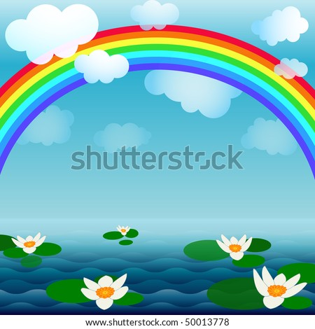 Bright spring background with a rainbow, clouds and flowers  (vector EPS 10)