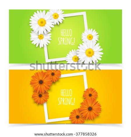 Bright spring banners design. Vector resizable illustration.