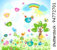 bright spring with rainbow - stock vector