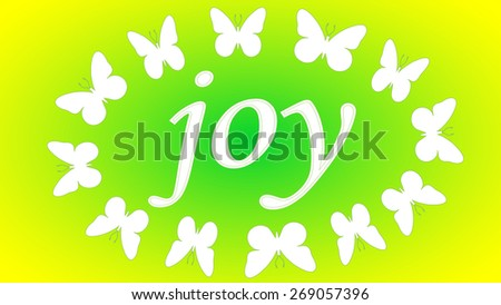 """Bright spring yellow light green background """"Joy"""" with white butterflies. - stock vector"""