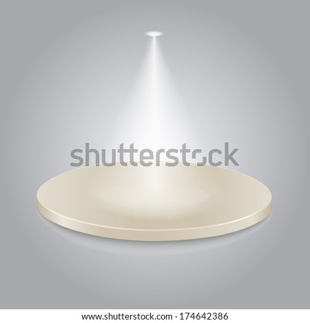 Bright stage with one spot lights vector - stock vector