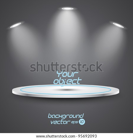 Bright stage with spot lights. Vector eps 10 - stock vector