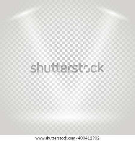 Bright stage with spotlights. Transparent background - stock vector