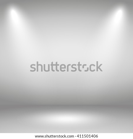 Bright  stage with spotlights. Two rays of light - stock vector