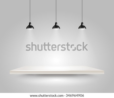 Bright stage with the lamps - stock vector