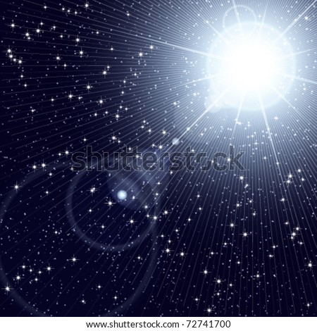 Bright star shining in the starry cosmos. - stock vector